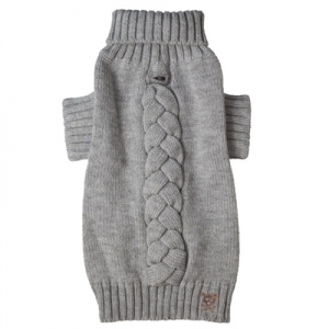Cool Cable Grey Knit Turtleneck Sweater