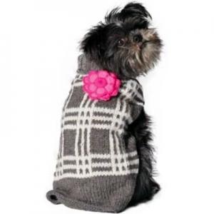 Grey Plaid w/Flower Sweater