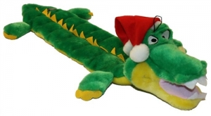 Kyjen Christmas Squeaker Mat Long Body - Gator w/Santa Hat
