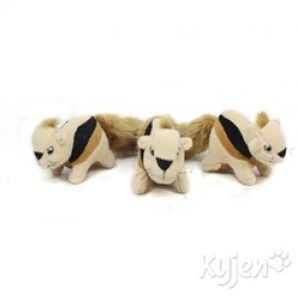 Kyjen Dog Toy Puzzle Plush- Squeakin' Animals Hide-A-Squirrel Replacement 3 Pack